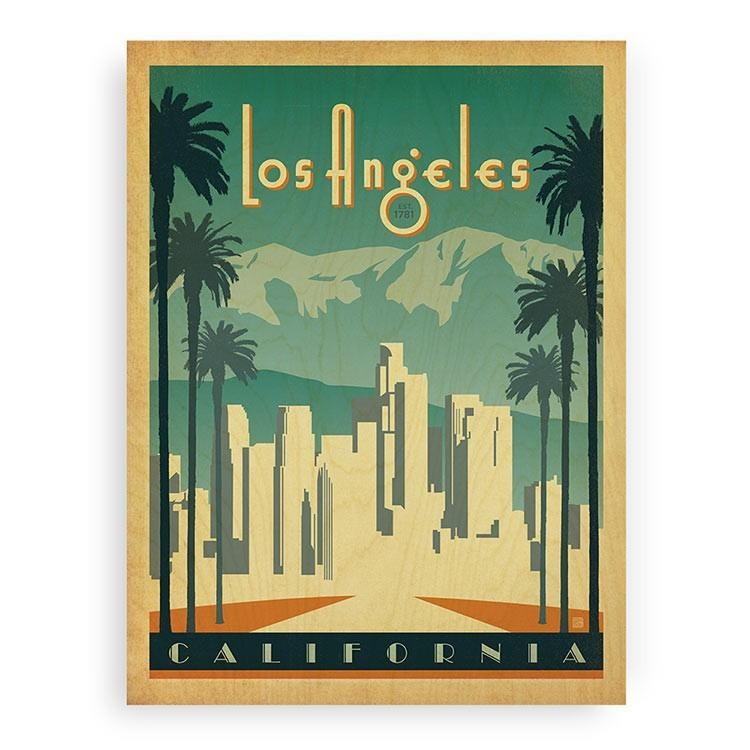 Los Angeles Wall Art Wood Print | Licensed Art | Woodsnap Inside Los Angeles Wall Art (Image 12 of 20)