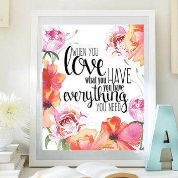 Love Inspirational Print Teen Room Decor From Littleemmasflowers For Teenage Wall Art (Image 8 of 20)