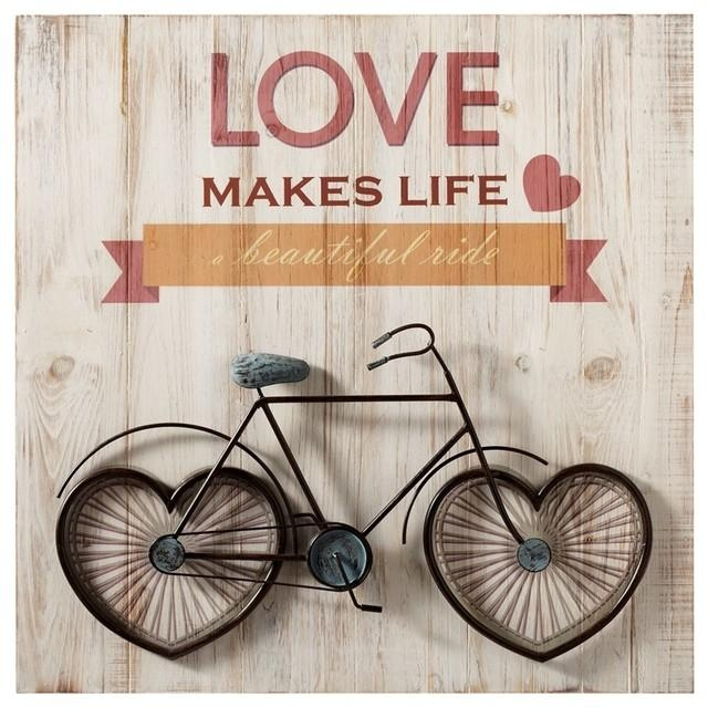 "Love Makes Life A Beautiful Ride"" Bicycle Wall Art – Contemporary Within Love Wall Art (Image 11 of 20)"