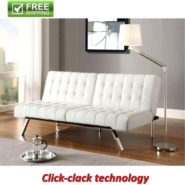 Loveseat ~ Convertible Futon Vanilla Faux Leather Sofa Bed Modern In Faux Leather Sleeper Sofas (View 19 of 20)