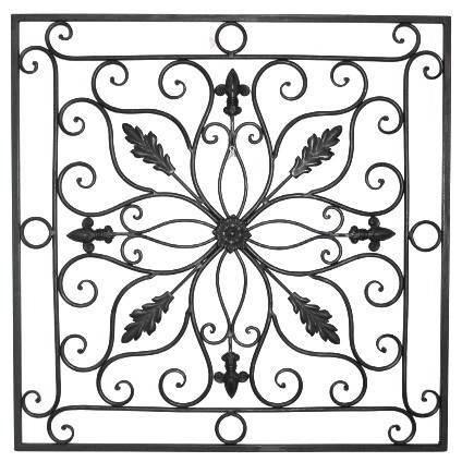 """Lucina Tuscan 24"""" Square Indoor Outdoor Wrought Iron Wall Grille Throughout Tuscan Wrought Iron Wall Art (Image 15 of 20)"""