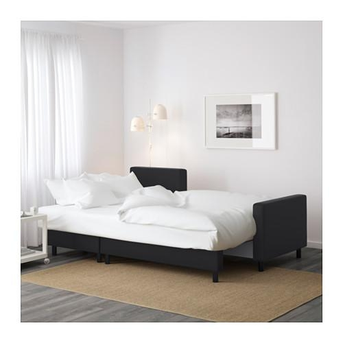 Lugnvik Sofa Bed With Chaise Longue Granån Black – Ikea With Chaise Longue Sofa Beds (Image 14 of 20)