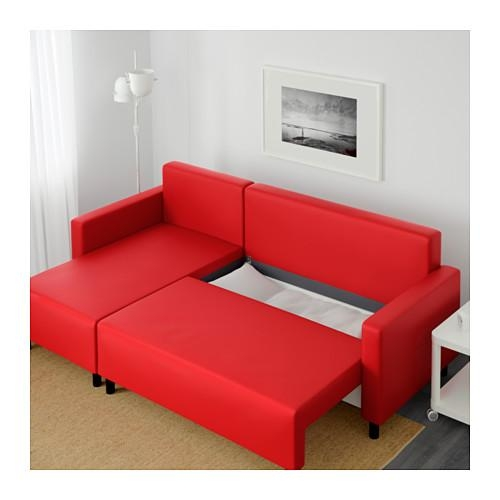 Lugnvik Sofa Bed With Chaise Longue Tallåsen Red – Ikea Pertaining To Chaise Longue Sofa Beds (Image 15 of 20)