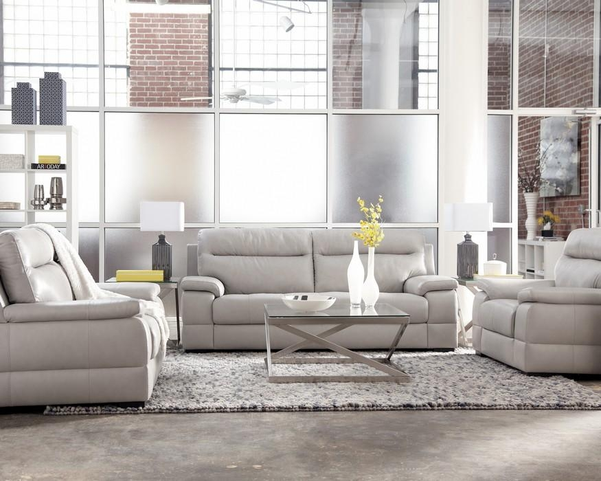 Luke Euro Design Ice Gray All Leather Sofa & Loveseat Intended For Euro Sofas (Image 16 of 20)