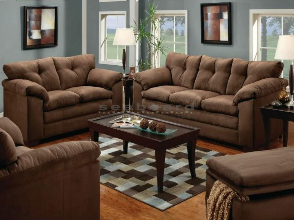 Luna Chocolate Microfiber Sofa And Loveseat Set 6565 For Simmons Sofas And Loveseats (Image 3 of 20)