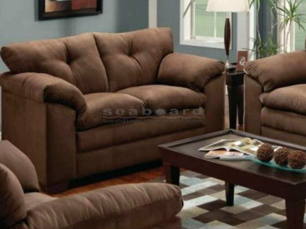 Luna Chocolate Microfiber Sofa And Loveseat Set 6565 With Regard To Simmons Sofas And Loveseats (Image 4 of 20)