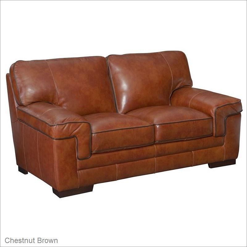 Macco Leather Loveseat In Chestnut Brownsimon Li Furniture Inside Simon Li Loveseats (Image 4 of 20)