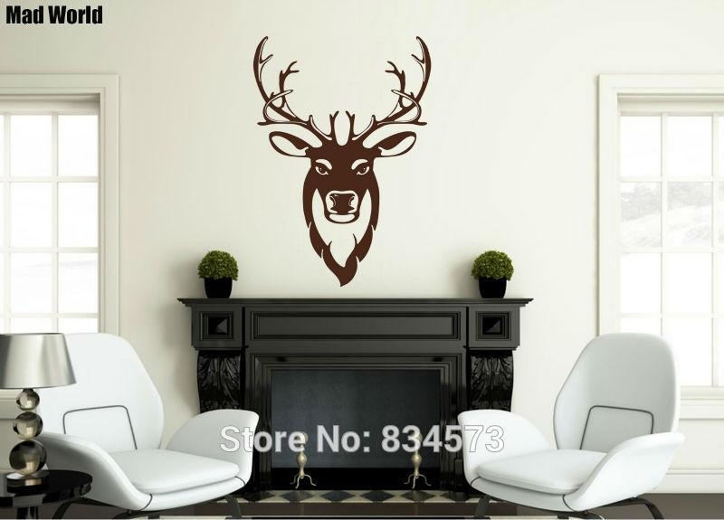 Mad World Stag Silhouette Stag Head Wall Art Stickers Wall Decal With Regard To Stag Head Wall Art (Image 11 of 20)