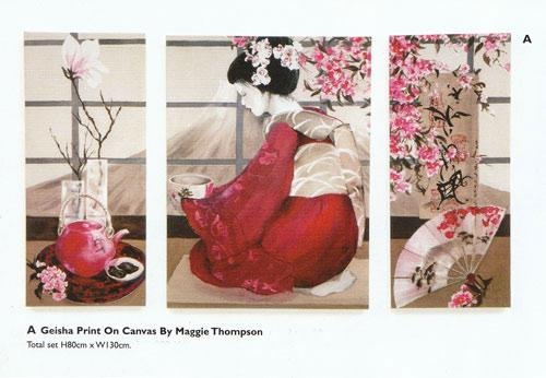 Maggie Thompson Artist Acrylic Montages Collection For Geisha Canvas Wall Art (Image 8 of 20)