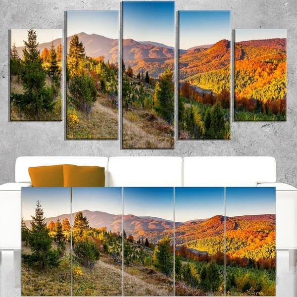 Majestic Fall Mountains Panorama – Landscape Wall Art Canvas Print In Canvas Landscape Wall Art (View 19 of 20)