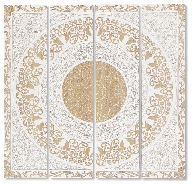 Mandala Global Bazaar White Wood Wall Mural Art – Eclectic In White Wooden Wall Art (View 6 of 20)