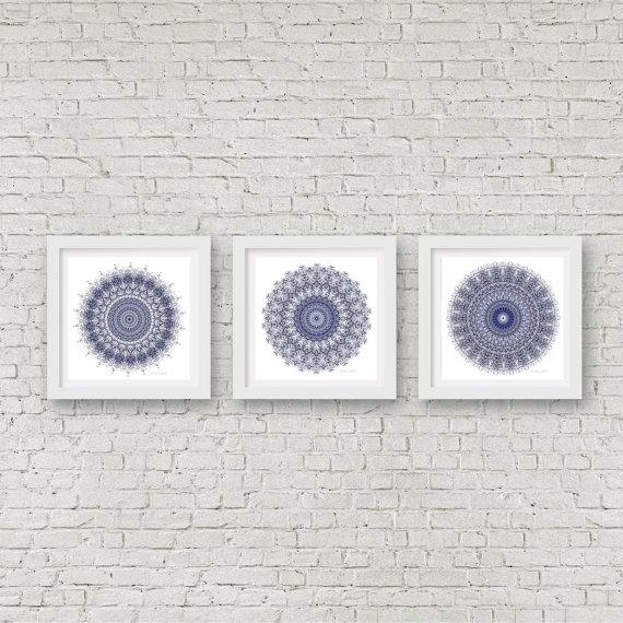 Mandala Wall Art Set Of 3 Matching Prints Navy Blue Wall Art With Regard To Navy Blue Wall Art (Image 14 of 20)