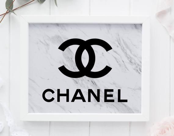 Marble Coco Chanel Tumblr Room Decor Chanel Wall Art Marble For Chanel Wall Decor (View 11 of 20)