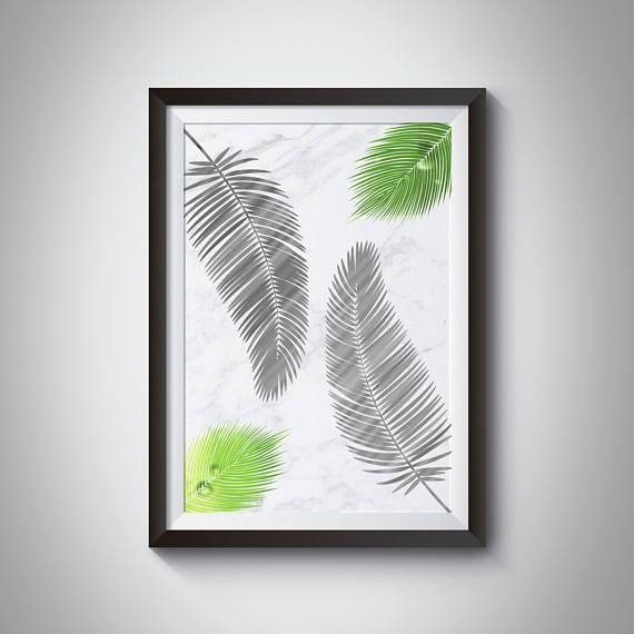 Marble Print Palm Leaf Print Tropical Leaf Wall Art Palm Within Palm Leaf Wall Art (View 5 of 20)