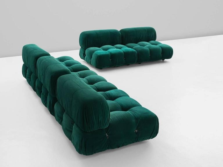 Mario Bellini Camaleonda Modular Sofa In Original Green Upholstery In Bellini Couches (Image 17 of 20)