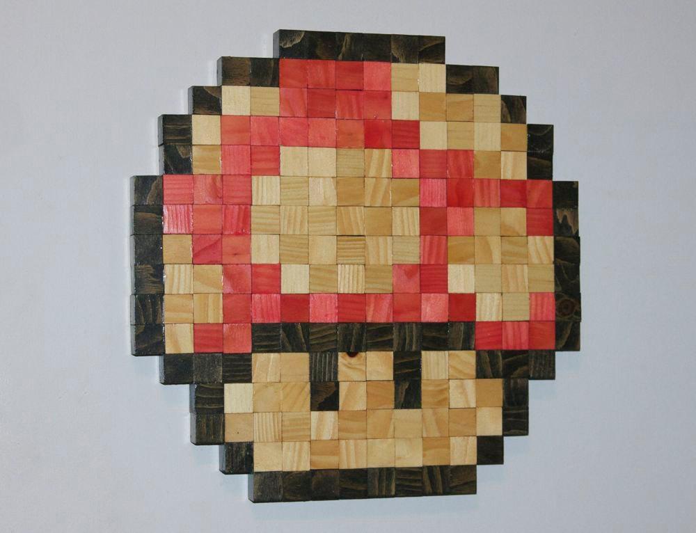 Mario Mushroom Wooden Pixel Wall Art In Mushroom Wall Art (Image 11 of 20)