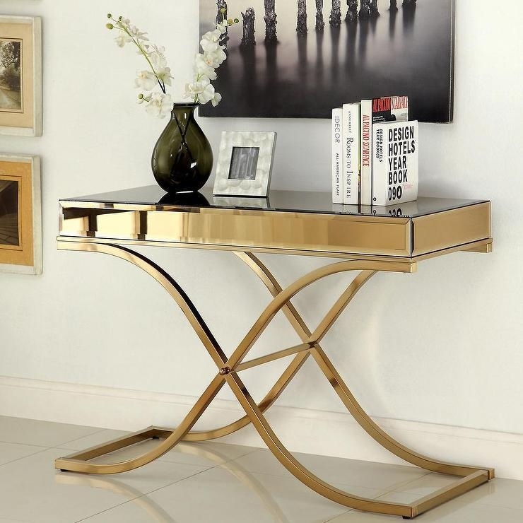 Marseille White Top Gold Sofa Table In Gold Sofa Tables (View 2 of 20)
