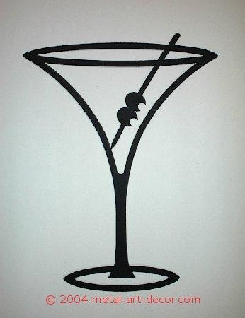 Martini Glass Restaurant Bar Modern Wall Art Decor For Martini Metal Wall Art (View 8 of 20)