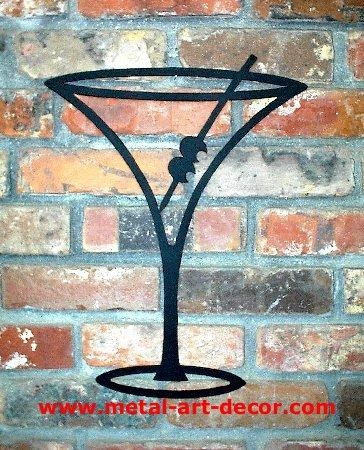 Martini Glass Restaurant Bar Modern Wall Art Decor For Martini Metal Wall Art (Image 8 of 20)