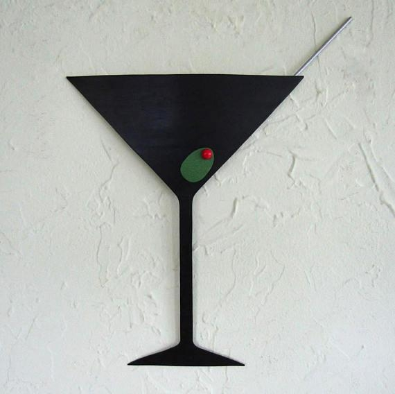 Martini Metal Wall Art Sculpture Kitchen Art Upcycled Metal Regarding Martini Metal Wall Art (Image 10 of 20)