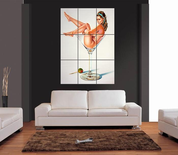 Martini Miss Naked Girl In Cocktail Glass Giant Wall Art Print For Martini Glass Wall Art (Image 12 of 20)