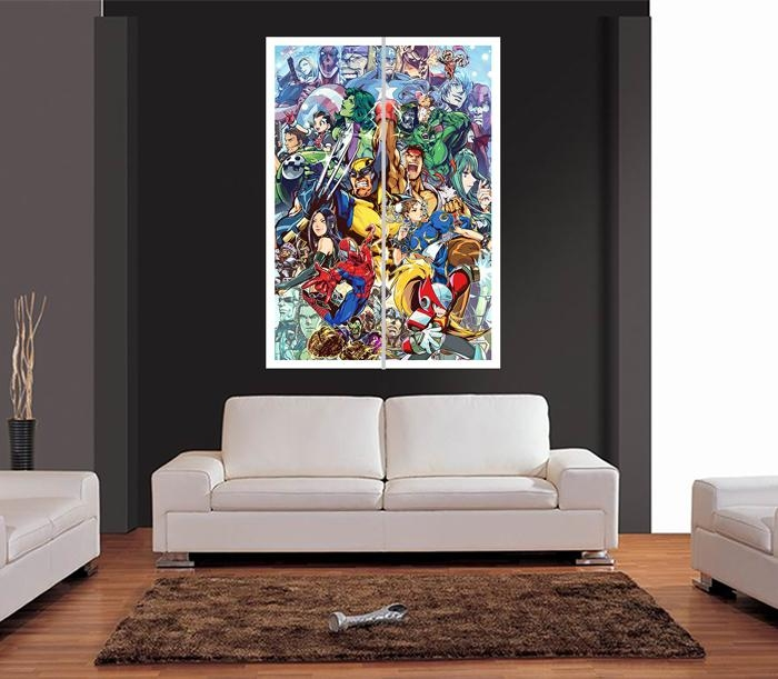 Marvel Super Heroes Cartoon Style Giant Wall Art Print Picture In Huge Wall Art (Image 18 of 20)