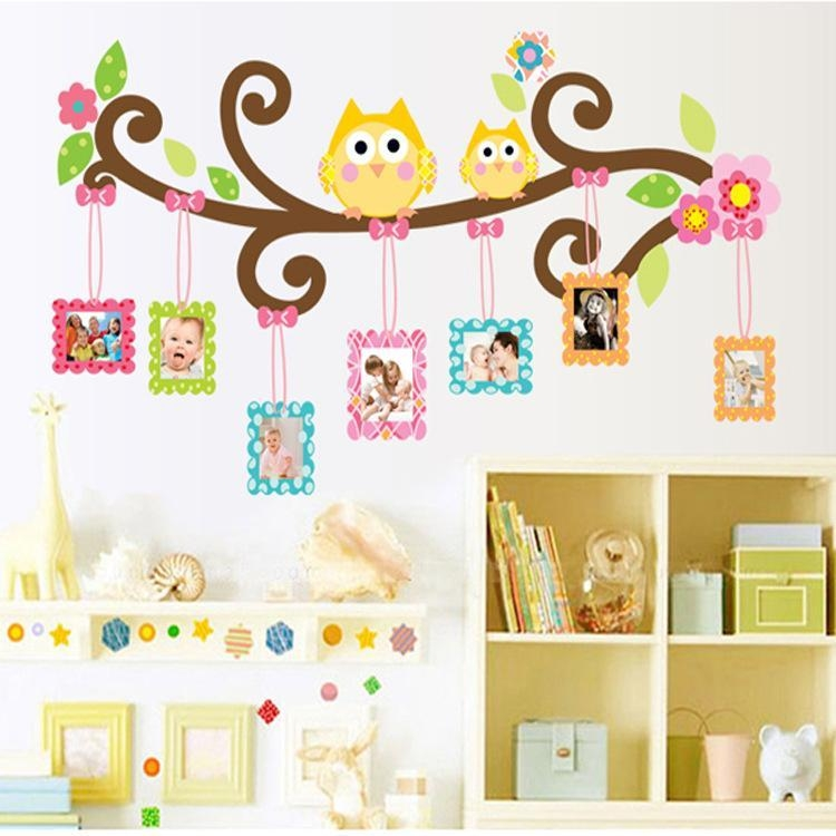 Mascot Owl Picture Frame Wall Decal Stickers Colorful Owls Photo Throughout Owl Wall Art Stickers (View 12 of 20)