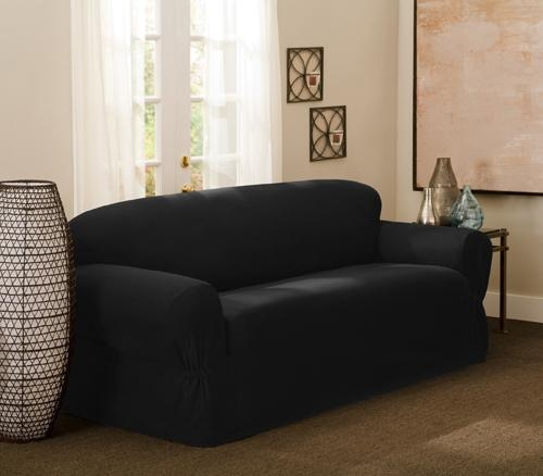 Maytex One Or Two Piece Sofa Slipcovers Within Black Sofa Slipcovers (View 9 of 20)