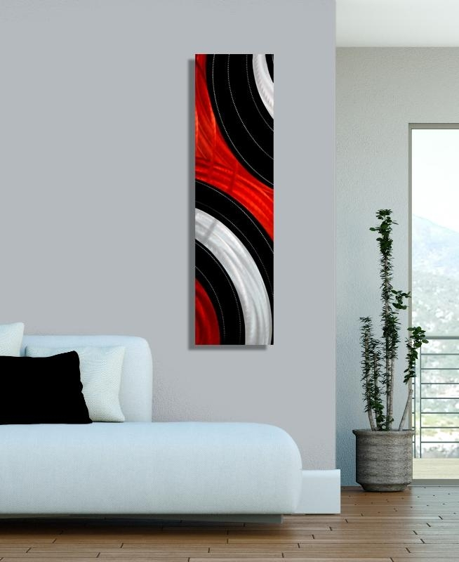 Measured Urgency – Black, Red & Silver Contemporary Metal Wall Art With Regard To Black Silver Wall Art (Image 11 of 20)