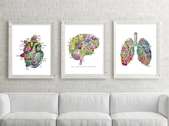 Medical Printable Lung Art Heart Print Brain Art Watercolor Inside Medical Wall Art (Image 15 of 20)