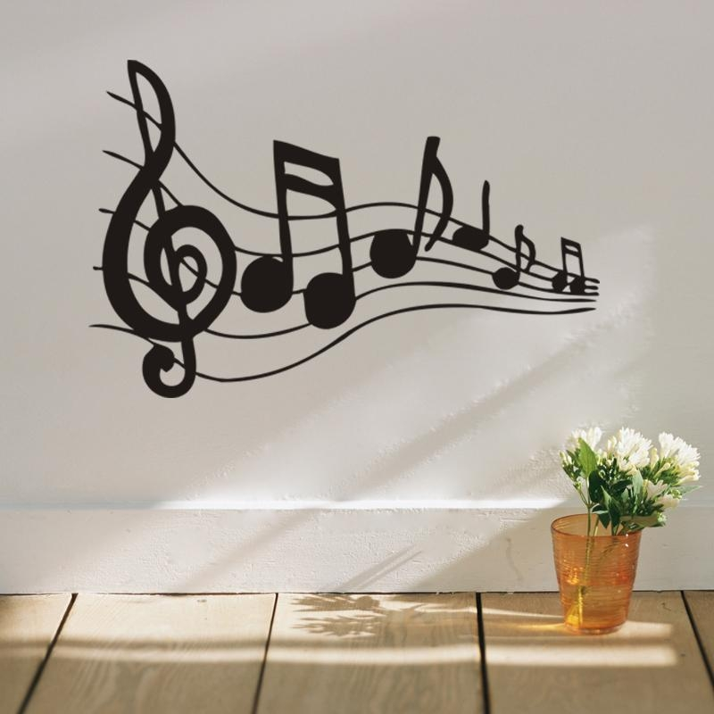Melodious Musical Note Home Decor Wall Stickers For Music Fans Intended For Music Note Wall Art (View 5 of 20)