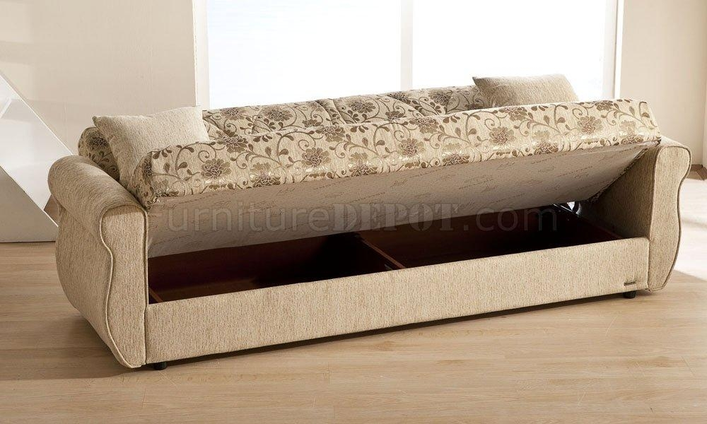 Melody Yasemin Sleeper Sofa In Beige Chenillesunset Inside Chenille Sleeper Sofas (Image 15 of 20)
