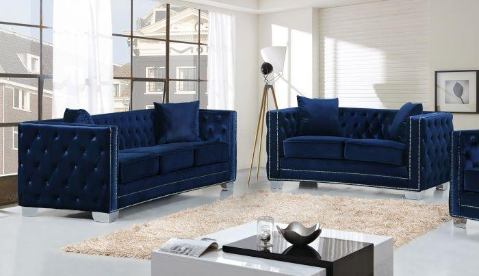 Meridian Furniture Reese 2Pc Modern Tufted Navy Velvet Sofa With Regard To Silver Tufted Sofas (View 20 of 20)