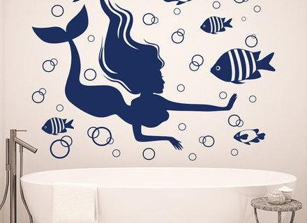 Mermaid Wall Decals Nautical Sea Design Fish Decal For Bathroom Throughout Fish Decals For Bathroom (Image 17 of 20)