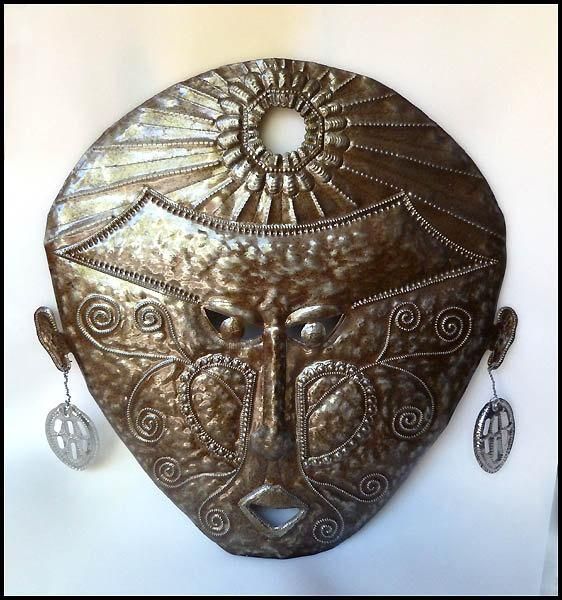 Metal Art Haitian Ethnic Mask Metal Wall Hanging 24 Intended For African Metal Wall Art (Image 16 of 20)