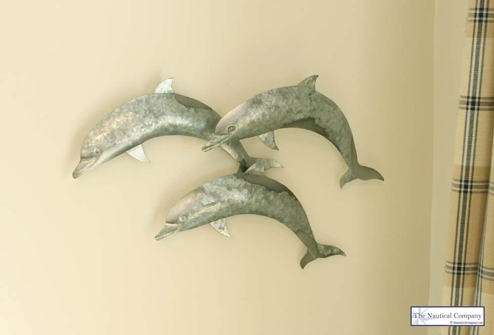 Metal Dolphin Wall Art Decor – The Nautical Company Throughout Dolphin Metal Wall Art (Image 15 of 20)