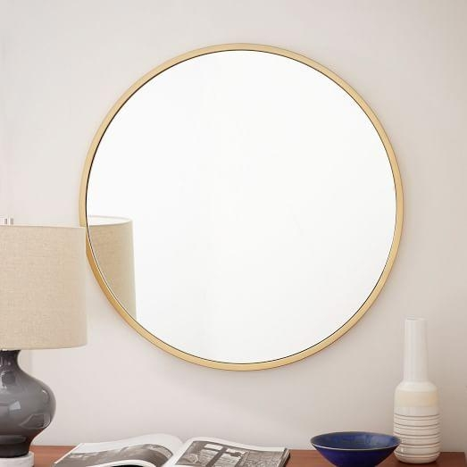 Metal Framed Round Wall Mirror | West Elm In Mirror Circles Wall Art (Image 10 of 20)