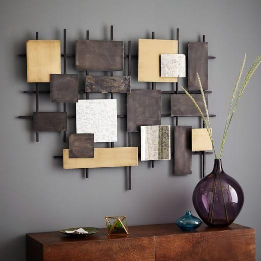 Metal + Mirror Wall Art | West Elm Intended For Metallic Wall Art (Image 13 of 20)