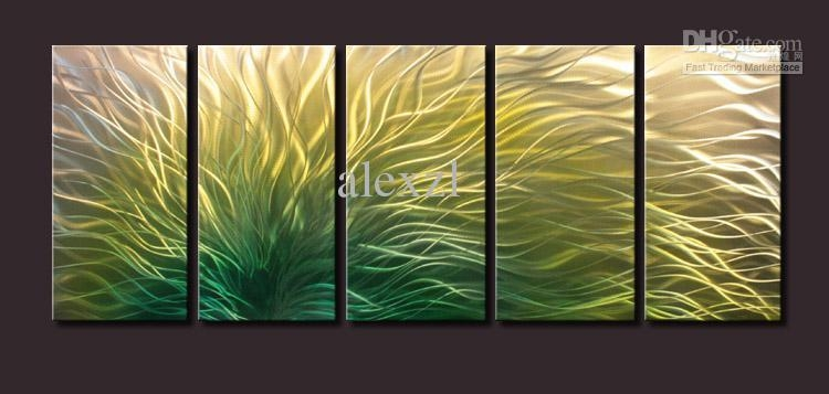 Metal Oil Painting,abstract Metal Wall Art Sculpture Painting With Regard To Yellow And Green Wall Art (Image 17 of 20)