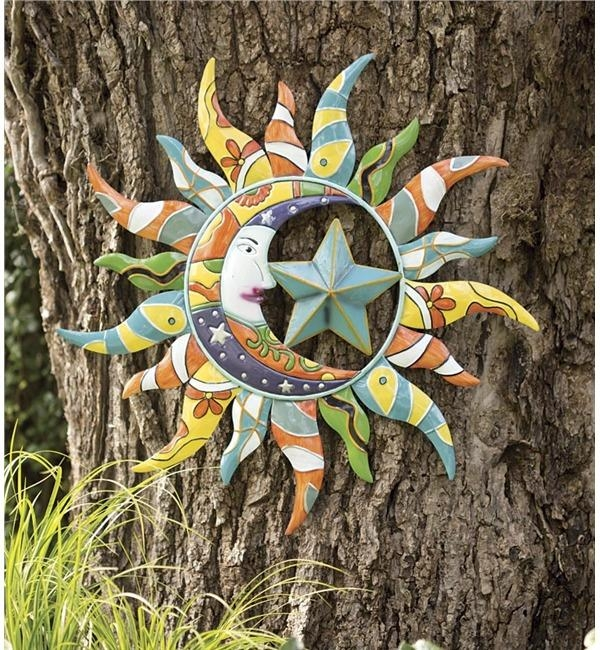 Metal Talavera Sun, Moon & Star | Wind & Weather With Regard To Large Garden Wall Art (View 12 of 20)