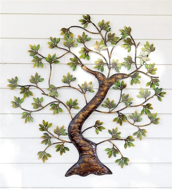 Metal Twisted Tree With Green Foliage Wall Art | Metal Wall Art With Regard To Outside Wall Art (Image 14 of 20)