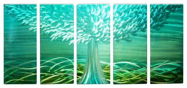 Metal Wall Art Abstract Landscape Contemporary Handmade Blue Decor In Large Green Wall Art (Image 12 of 20)