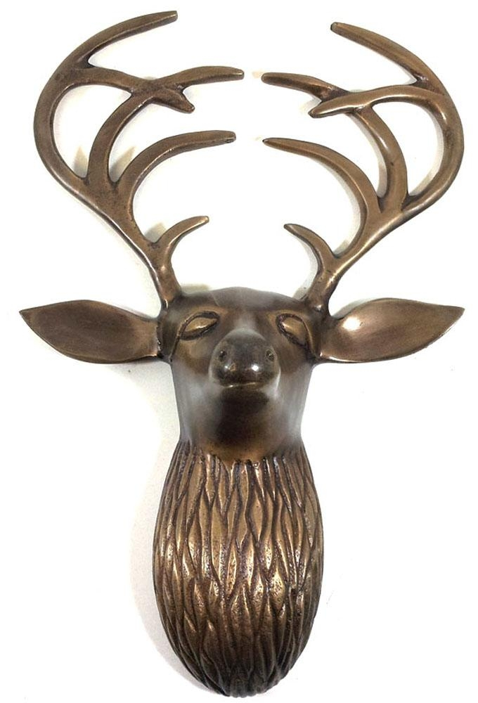 Metal Wall Art – Bronze Flat Antler Deer Stag Head Regarding Stags Head Wall Art (View 12 of 20)