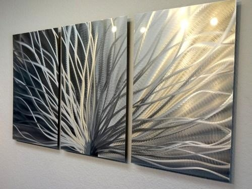 Metal Wall Art Decor Abstract Contemporary Modern  Radiance 3 In Three Panel Wall Art (Image 9 of 20)