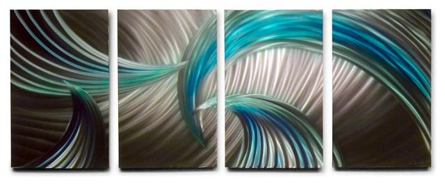 Metal Wall Art Decor Abstract Contemporary Modern Sculpture Intended For Blue And Green Wall Art (Image 18 of 20)