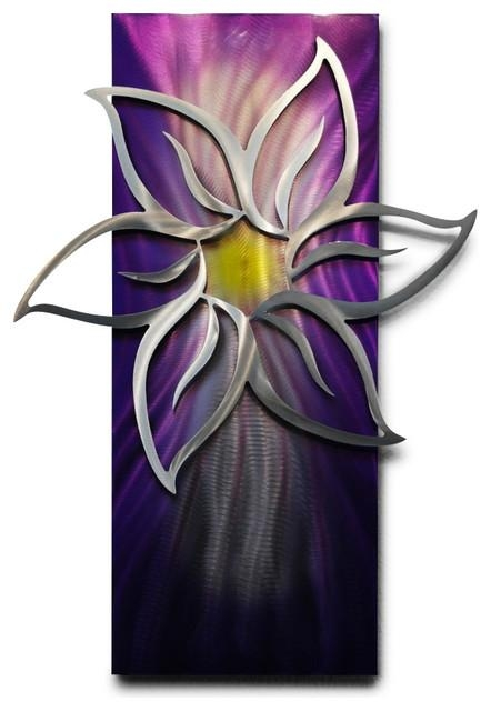 Metal Wall Art Decor Abstract Contemporary Modern Sculpture Within Purple Flower Metal Wall Art (Image 10 of 20)