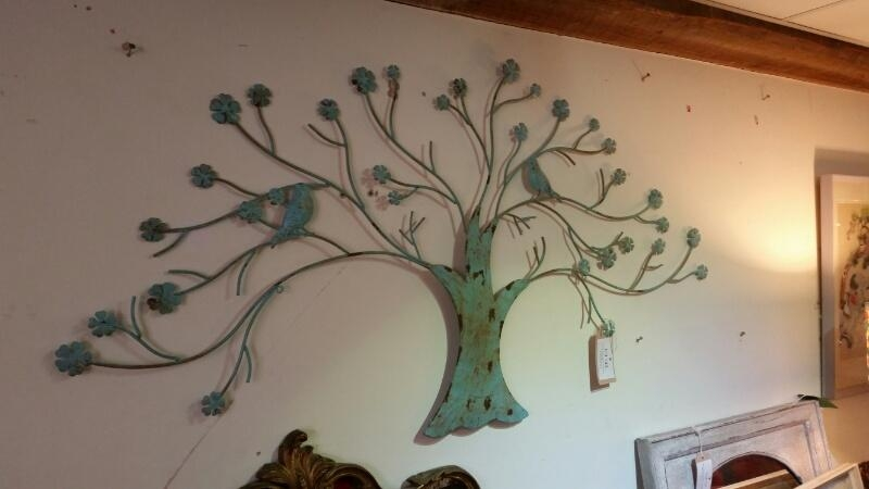 Metal Wall Art, Duck Egg Blue Tree With Birds, C (Image 15 of 20)