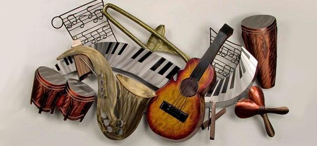Metal Wall Art, Metal Wall Decor, Metal Wall Sculptures Inside Musical Instrument Wall Art (View 20 of 20)