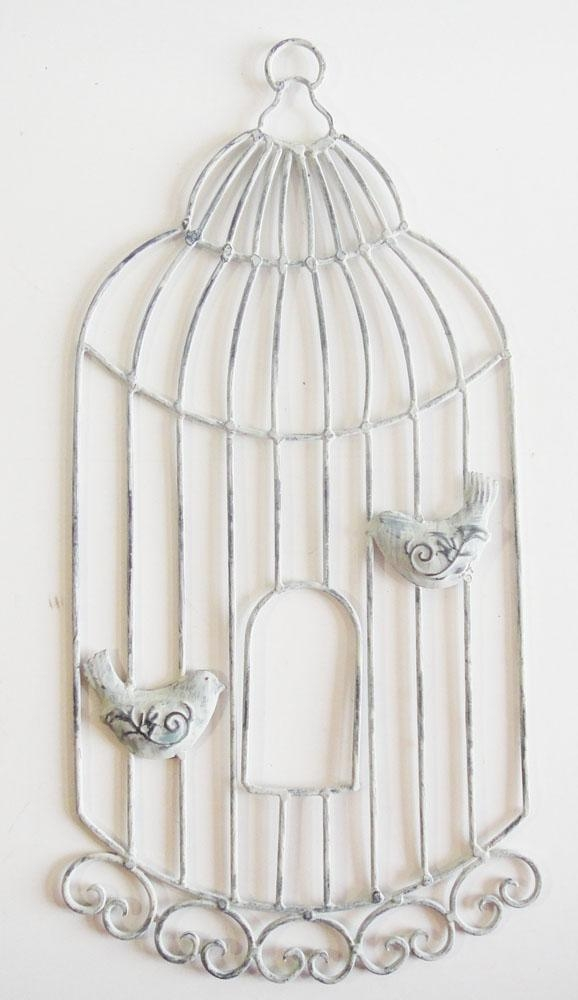 Metal Wall Art – Shabby Chic Birdcage With Birds With Metal Birdcage Wall Art (View 13 of 20)