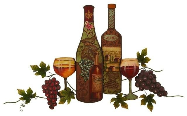 Metal Wall Art Statue Vintage Bottle Glassware Grape Vine Kitchen With Regard To Grape Wall Art (Image 13 of 20)